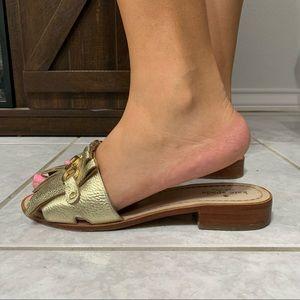 Kate Spade Brie Gold Slide Sandals